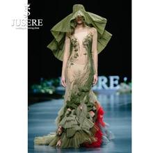 JUSERE 2019 SS MODESHOW Green Mermaid Prom Dress Kant Applicaties Borduren Bloem Lange Prom Jurken Jurk robe de soiree