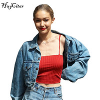 Hugcitar Ottoman Cord Cotton Camisole Crop Tank Top Red Solid Gigi Hadid Style Women Spaghetti Straps