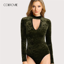 COLROVIE Army Green Choker Neck Cut Out Velvet Girl Sexy Bodysuit Women 2018 Autumn Long Sleeve Female Skinny Basic Bodysuits(China)