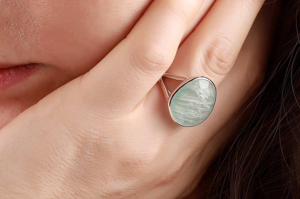 Image 3 - DORMITH real 925 sterling silver gemstone rings natural amazonite rings for women Jewelry rings size can be rejustablering forrings for womenring ring -