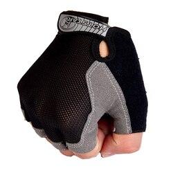 Luvas de ginásio de esportes homens treinamento de fitness exercício anti deslizamento luvas de levantamento de peso metade do dedo corpo treino