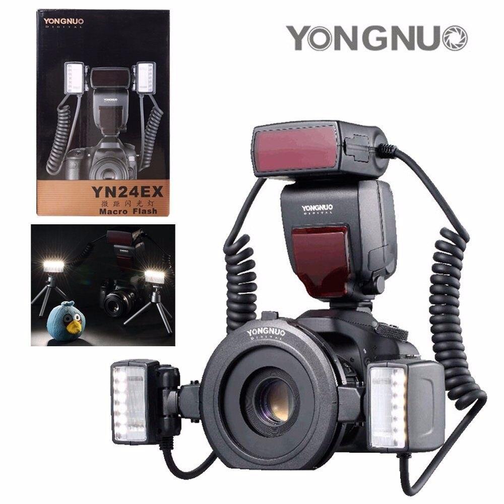 YONGNUO YN24EX Flash à bague Macro Speedlite avec 2 tête de Flash 4 anneaux d'adaptateur pour Canon 5 DIII 7DII 5D 6D 70D avec chiffon en microfibre
