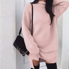 BEFORW Winter Long Sleeve Women Sweater Dress Fashion Turtleneck Knitted Dresses Casual Plus Size Mini Dress White Wome Clothes(China)
