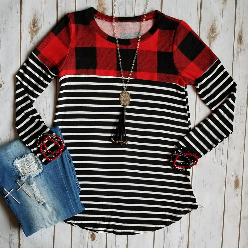 Spring Autumn Women T-Shirt Long Sleeve Plaid Striped Splicing O-Neck Casual Female T-Shirt Ladies Tops Tee