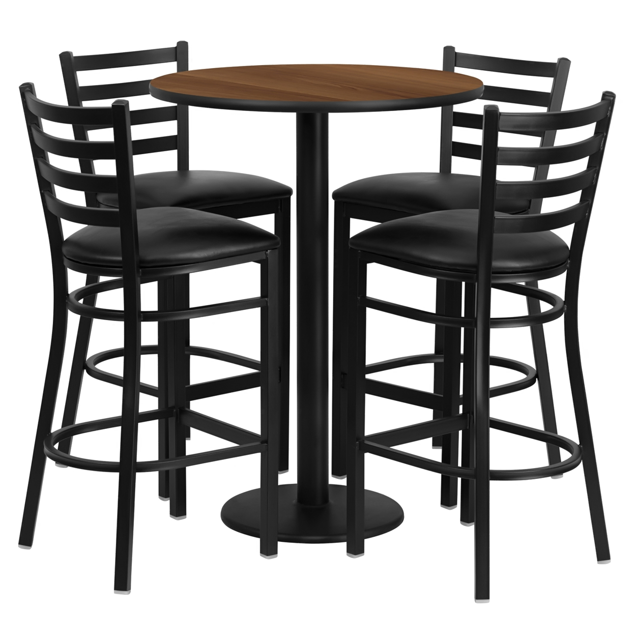 все цены на Flash Furniture 30'' Round Walnut Laminate Table Set with 4 Ladder Back Metal Bar Stools - Black Vinyl Seat [863-RSRB1024-GG]