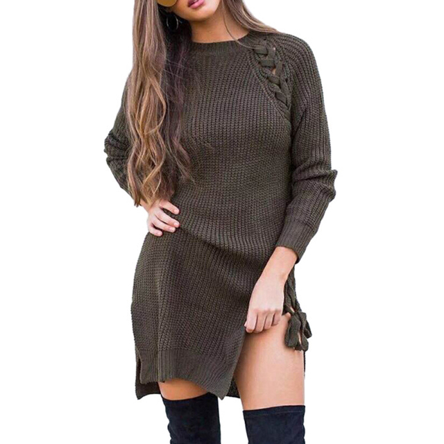 Women s Autumn Winter Fashion Lace-up Strappy Long Sleeve Mini Sweater Dress 674557ac9
