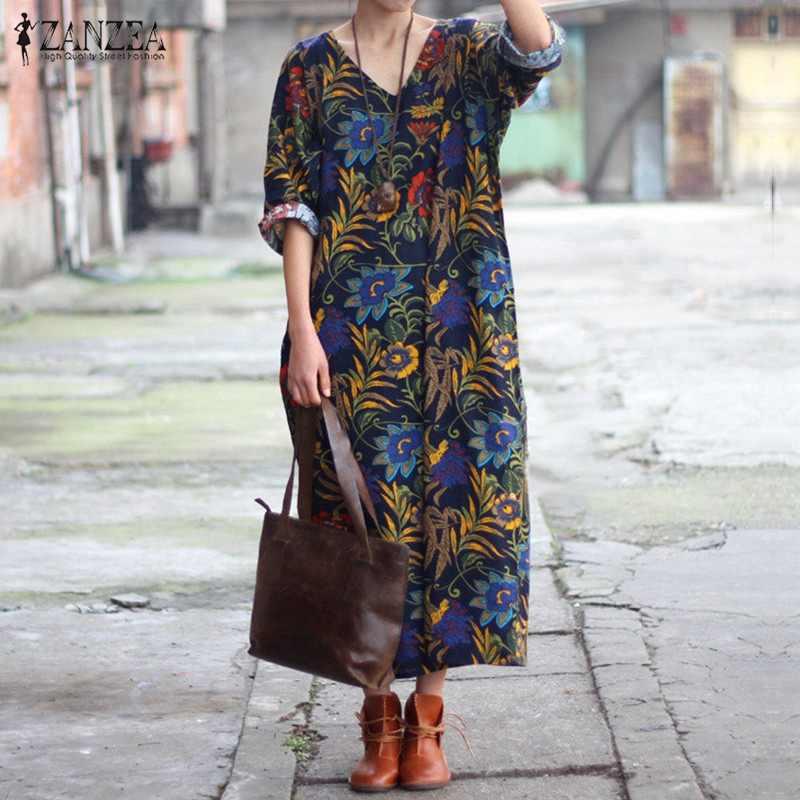 f3784ea40ea2 New Arrival 2019 ZANZEA Women Dress Sexy V Neck Floral Print Maxi Long  Dresses Casual Loose