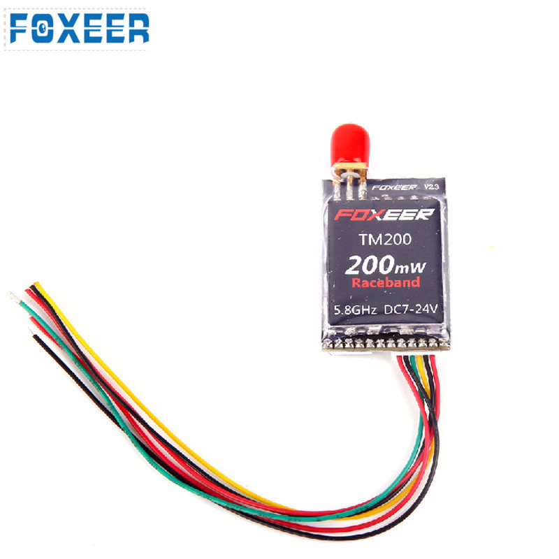 Original Foxeer TM200 200mW 5.8G 40CH Raceband VTX FPV Mini AV Transmitter For Micro Racer Quadcopter immersionrc raceband 40ch 5 8ghz 200mw av transmitter module for fatshark