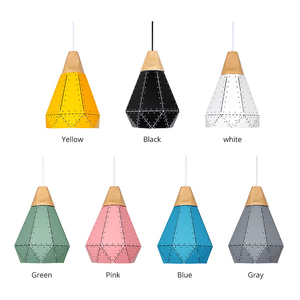 Image 4 - PHYVAL Pendant Light Modern E27 Macron Color Pendant Lamp Wood Iron Lampshade Cable 1.2m Pendant Lamp For Bedroom