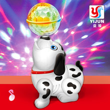 Baby children's young toys electric dog innovation dynamic music dance rotate 360 degrees dream all over the sky star 3D light(China)