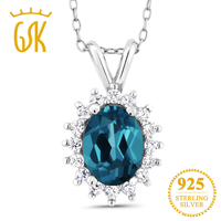 Gemstoneking 1.54 CT oval natural Topacio Azul Londres 925 vintage COLLAR COLGANTE para las mujeres Joyería fina