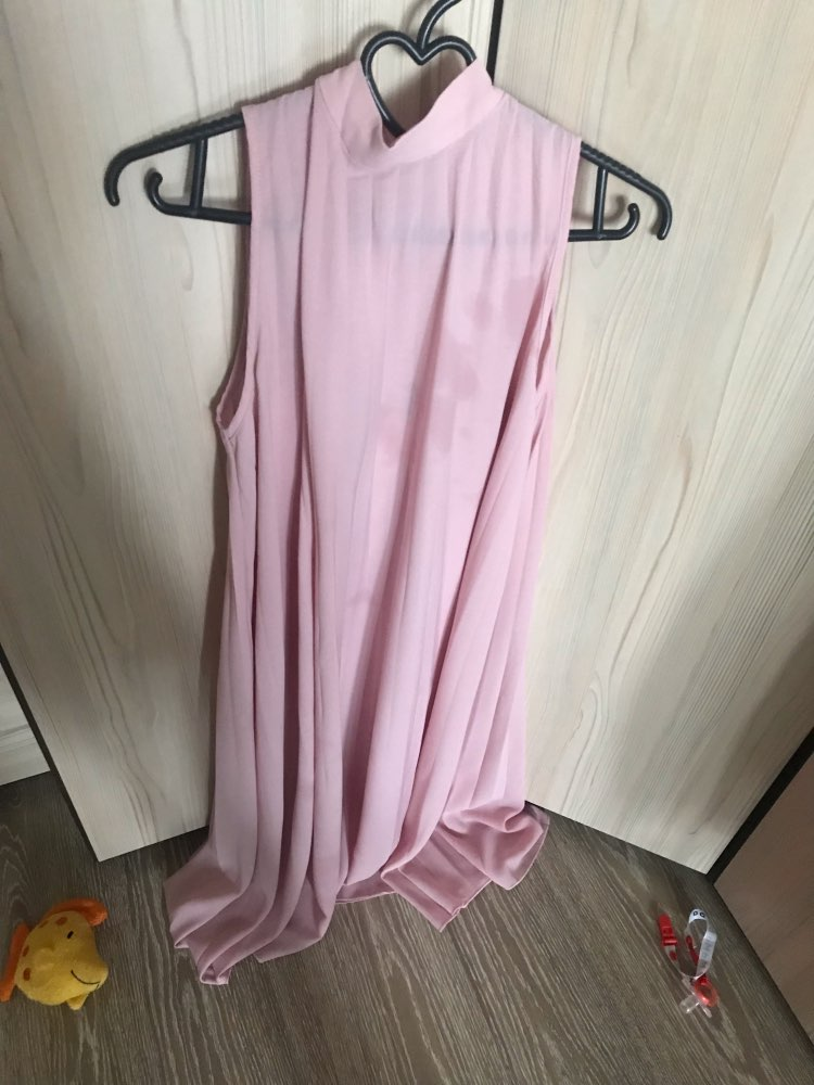Pink Mock Neck Cut Out Tie Back Pleated Tunic Party Midi Summer Dress Women Sleeveless Shift Straight Solid Cute Dresses photo review