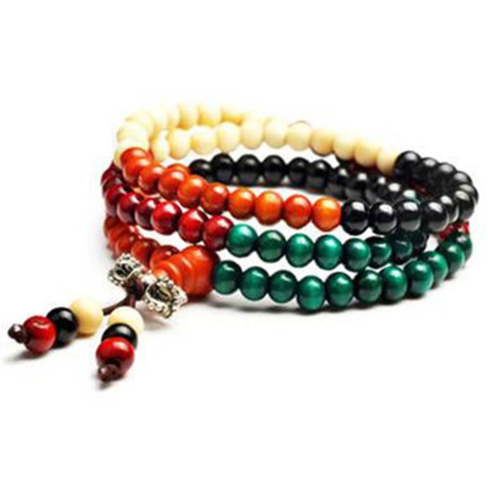 Trendy Charming Jewelry 108 Multicolored Knot Sandalwood Prayer Beads Hand String Bracelet
