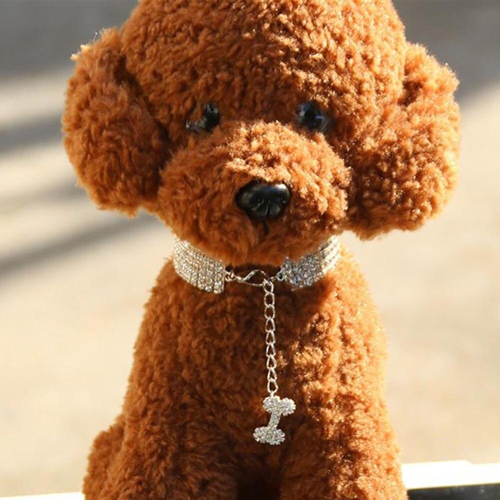 Fashion Shiny Three Row Rhinestone Bone Pendant Puppy Dog Collar Pet Supply