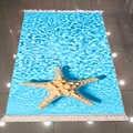 Else синяя вода под морем желтая Морская звезда природа 3d принт микрофибра Противоскользящий задний моющийся декоративный ковер для области ...
