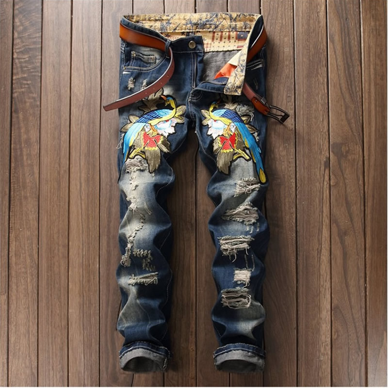 Heavy Animal Embroidery Jeans Man Distressed Classic Denim Trousers