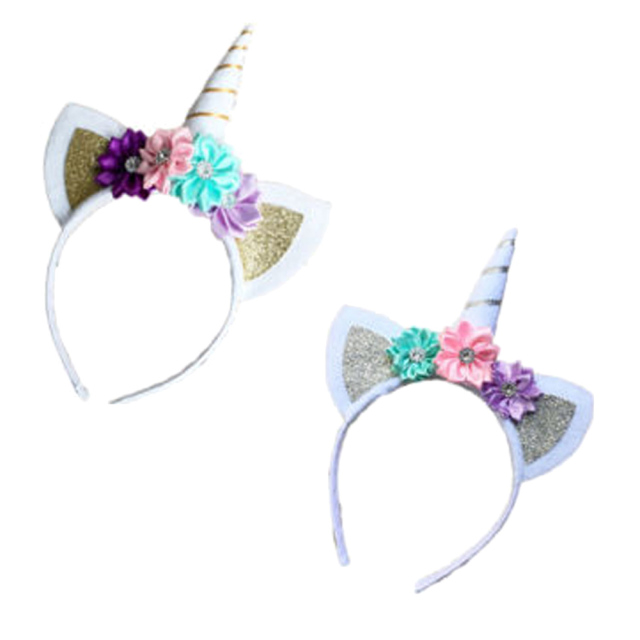 1 Pcs Children Decorative Unicorn Horn Hair Hoop with Flowers     1 Pcs Children Decorative Unicorn Horn Hair Hoop with Flowers Glitter Ears  for Girls Boys Easter