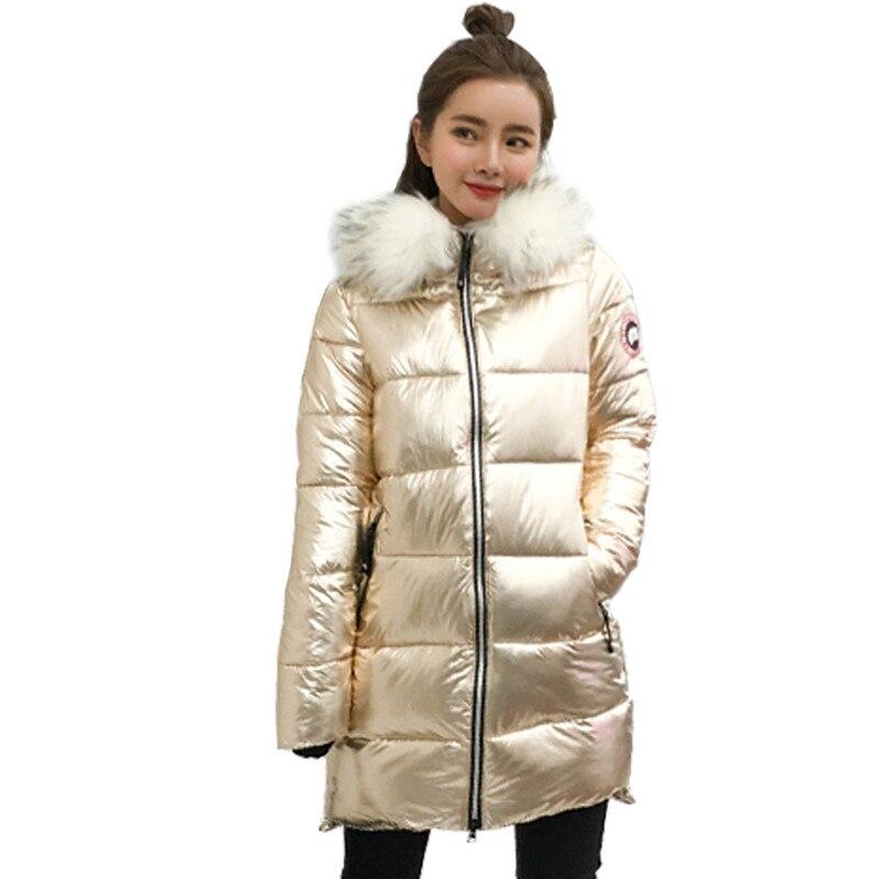 Gola de pele de Prata mid-Comprimento de prata das Mulheres para baixo revestimento das Mulheres para baixo casaco Quente para As Mulheres de Alta qualidade Jaqueta Com Capuz