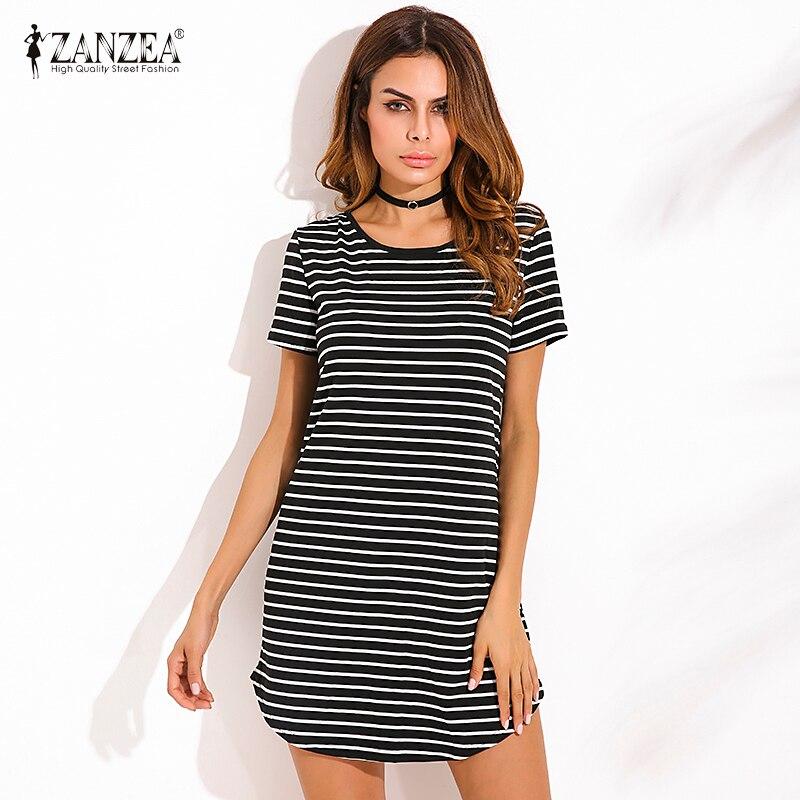 ZANZEA 4 Colors Summer 2018 New Women Dress Casual Loose Striped Dress Short Sleeve O Neck Mini Dress Vestidos Plus Size