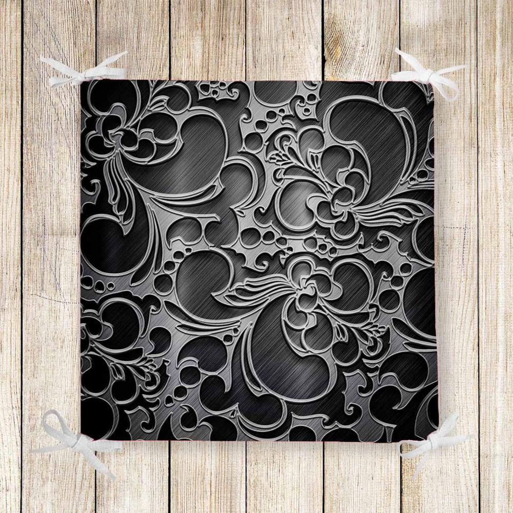 Else Black White Authentic Turkish 3d Print Chair Pad Seat Cushion Soft Memory Foam Full Lenght Ties Non Slip Washable Zipper
