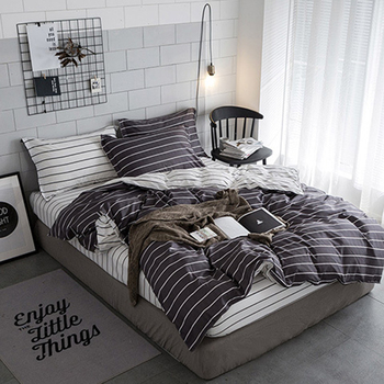 Grey Striped Sheets | Grey Stripe Quilt Case Duvet Cover Sheet Pillowcase 3/4 Pcs Bedding Sets Soft Skin Cotton Bed Linens Single Twin Queen King Size