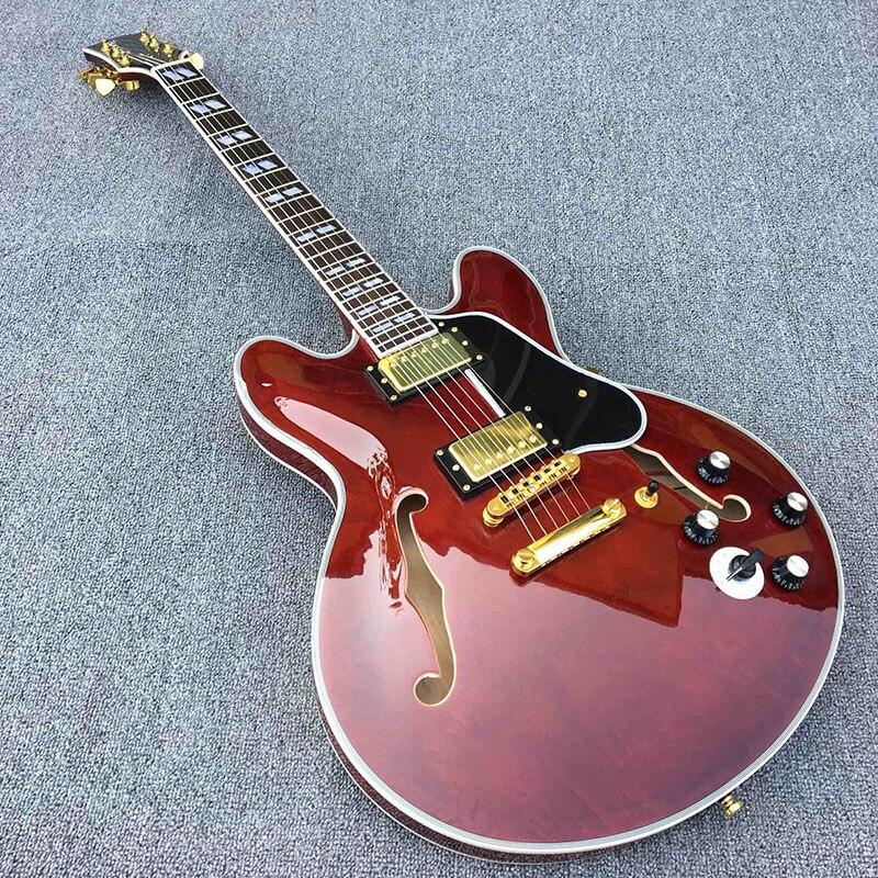 Galilée 335 électrique guitare, assurance De la Qualité, assez classique vin rouge, Un plus bouton interrupteur, or accessoires. réel affichage de l'image