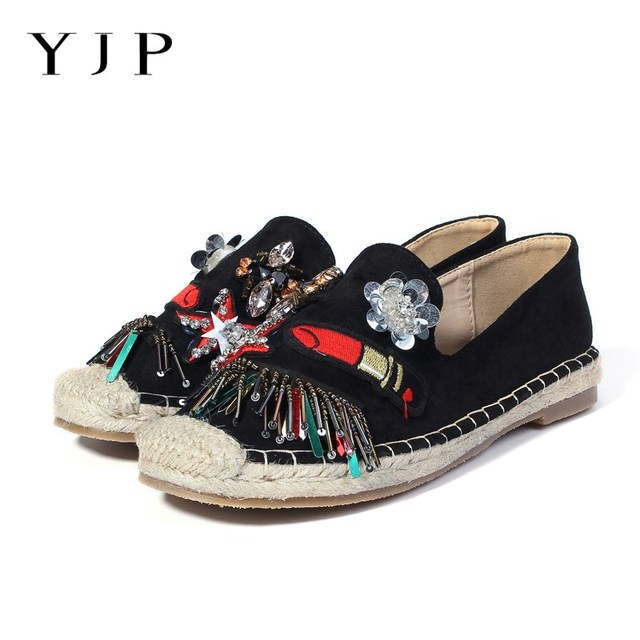 806ee512b7 US $56.6 |YJP Women Espadrilles, Black/Peachy Beige Crystal Embroidered  Lipstick Hemp Bottom Fisherman Shoes, Ladies Loafers Slip On Shoes-in  Women's ...