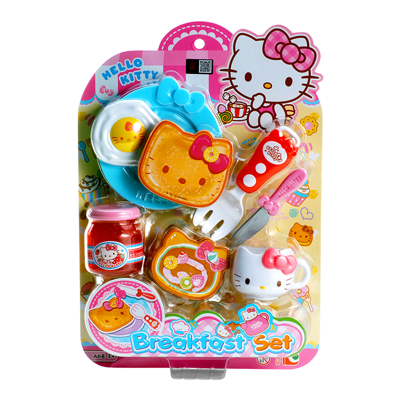 7 Pcs Hello Kitty Pretend Role Play Breakfast Kids Toys Kitchen Food Toys Pink Blue Girls Gift For Children Developmental KT002