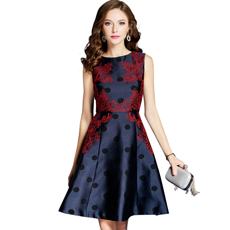 Polka Dresses De Dot Fleur line Ol Arrivée Mode A Imprimer Nouvelle Robe Broder Robes Plissée wxfYqZA6