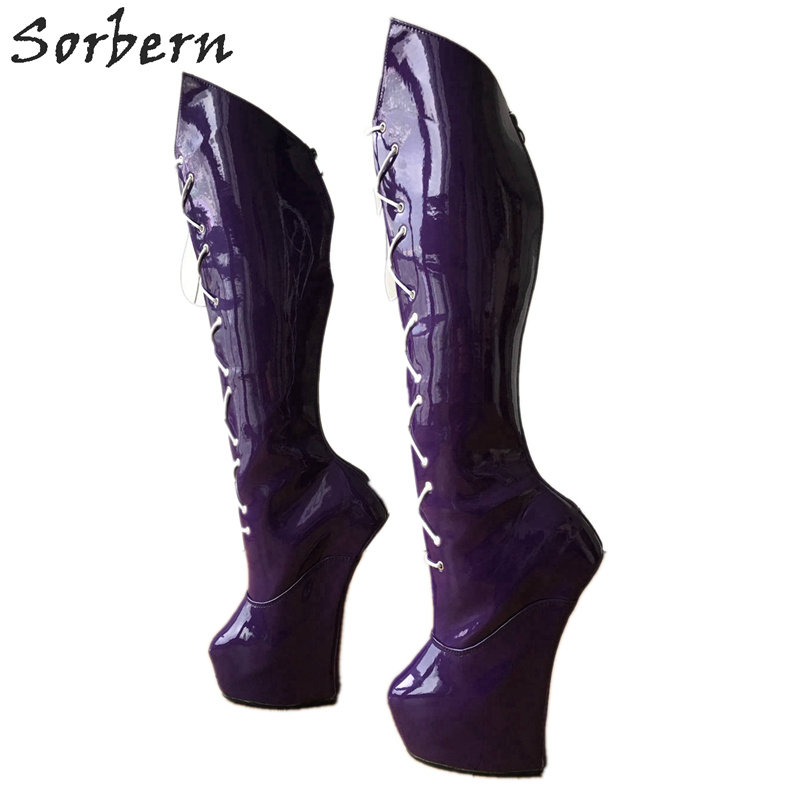 Sorbern Sailor Moon Cosplay Anime Boot Women Patent Knee High Boots Heelless Horse Hoof Shoes Unisex Custom Calf Size PurpleSorbern Sailor Moon Cosplay Anime Boot Women Patent Knee High Boots Heelless Horse Hoof Shoes Unisex Custom Calf Size Purple