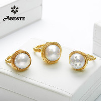 ANI 14K Roll Gold Handmade Women Ring Natural Freshwater White Pearl oorbellen perlas naturales Ring fine Engagement Jewelry