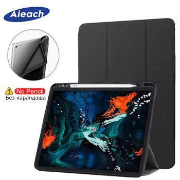 Funda For New iPad Pro 11 2018 Case With Pencil Holder PU Leather Magnetic Stand + Silicone Soft Back Cover For iPad Pro 11 Case