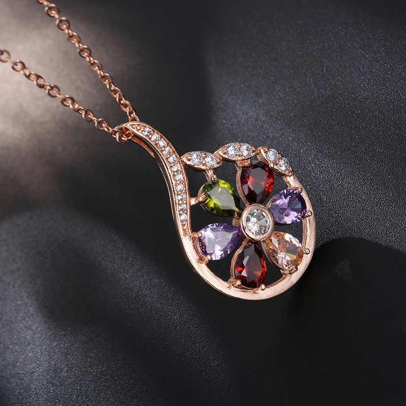CARSINEL роскошные золотые Цвет Ювелирные наборы ожерелье/серьги для Для женщин свадебные с Цвет ful AAA кубический циркон подарок, оптовая продажа JS0131