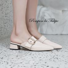 BHS 9011126 chunky heels comfy summer spring shoes medium mules concise pumps with metal decorated