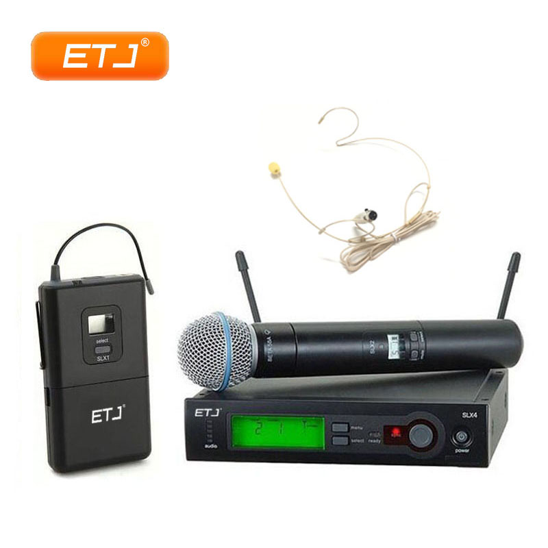 Professional Handheld Wireless Microphone Karaoke UHF Microphone SLX24/Beta58 Headset Mic Top Quality SLX4 SLX2 ur6s professional uhf karaoke wireless microphone system 2 channels cordless handheld mic mike for stage speech ktv 80m distance
