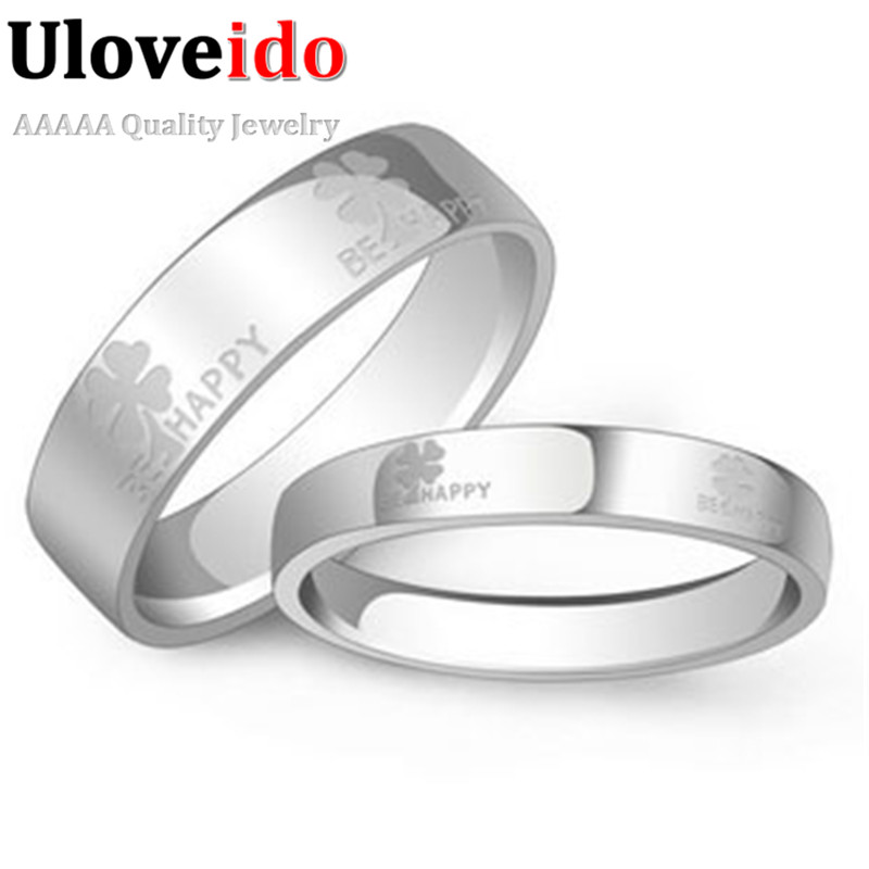 Uloveido Engagement Rings for Women and Men Silver Color Ring Couple Wedding Rings 2017 Ringen Sieraden Chinese Wholesaler J052
