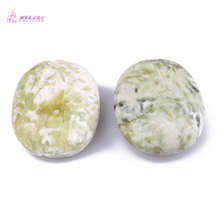 HIMABM 2 Pieces Natural Light Green Xiuyan Jade Hot Spa Basalt Stone Massage Basalt Stone Lava Rocks 6*8cm