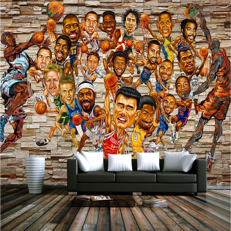 Personalized NBA Characters 3D Wallpapers Brick Retro Basketball Star Wall Murals Non-Woven Wall Papers Home Decor Living Room personality custom wallpaper 3d stereoscopic feather murals white non woven wallpapers wall papers for living room home decor
