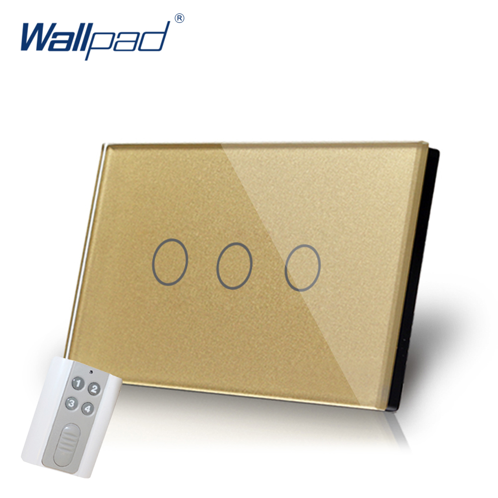 Gold 3 Gang Remote Light Switch Wallpad Luxury US/AU Crystal Glass Screen Remote Switch  LED Touch Switch with Remote Control 2017 free shipping smart wall switch crystal glass panel switch us 2 gang remote control touch switch wall light switch for led