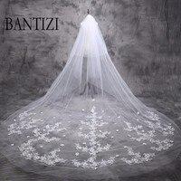 5 m Cathedral Wedding Veil 2017 Long Bride Lace Bridal Veil 5 Meters Wedding Accessories
