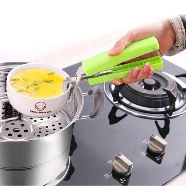 Hot Universal Handheld Anti Scald Plate Holder Cute Microwave Oven Kitchen Tool Clamps Multifunction Stainless