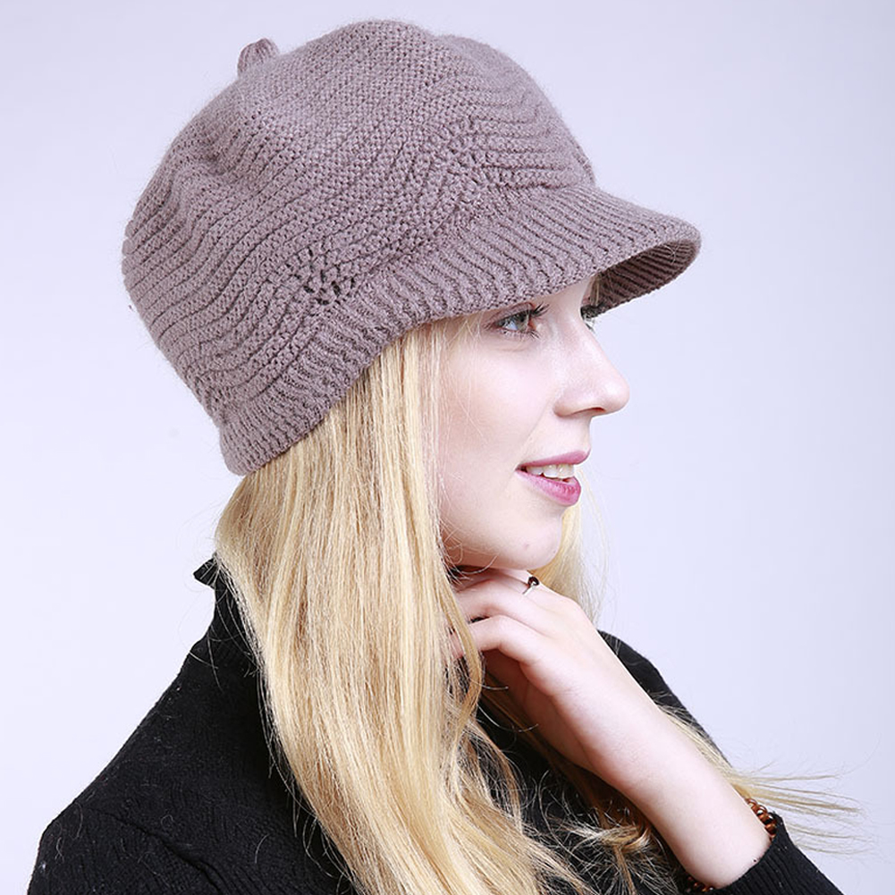 Fashion Women Girl Solid Color Winter Warm Knitted Hat Cap Christmas Present