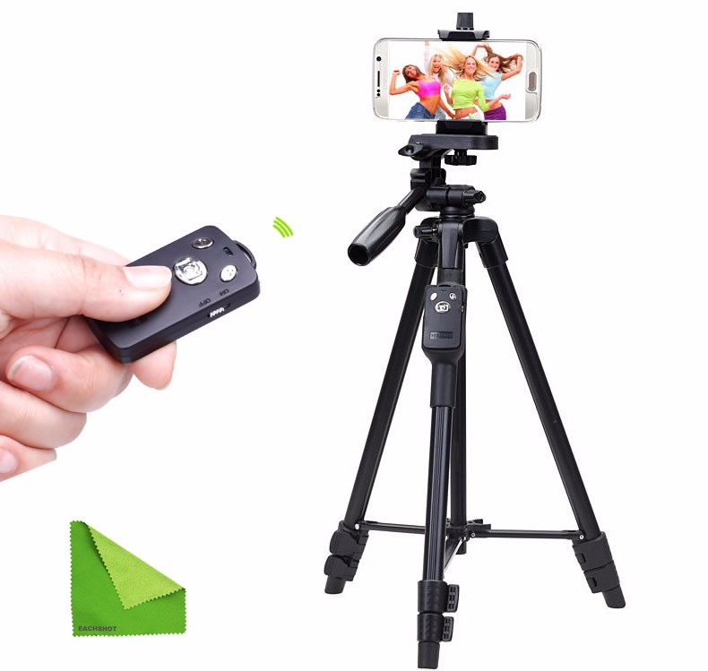 Yunteng 5208 Bluetooth Tripod for iPhone Cell Phone Smartphone Samsung Galaxy Phone iPad Tablet PC with EACHSHOT Cleaning Cloth
