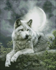Image 2 - Night Wolf   Counted Cross Stitch Kits   DIY Handmade Needlework For Embroidery 14 ct Cross Stitch Sets DMC Color
