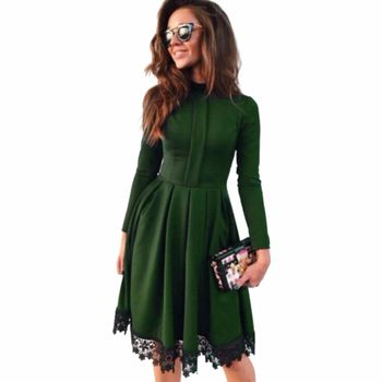 Women Dress 2018 New Fashion Autumn Vintage Long Sleeve Dress Green Purple Red O-Neck Lace Patchwork Party Dresses Plus Size