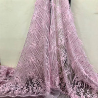Lovely pink Big Stones Lace Fabric, Africa Lace High Quality Lace 2018, 3D Lace Fabric With plume HJ963 1