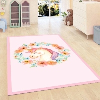 Else Pink Floor on Unicorn Horses Flowers Kids Room 3d Print Non Slip Microfiber Children Kids Room Decorative Area Rug Mat