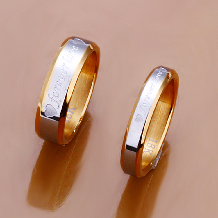 1pcs Never fade engagement gold silver plated forever Love letter jewerly accessories Women & Men wedding Couple Rings