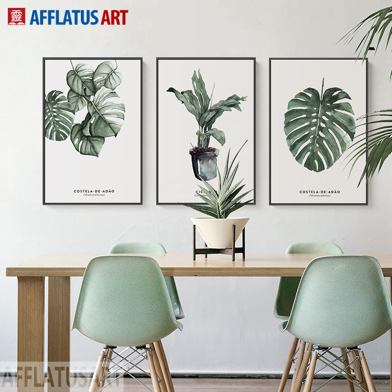 Natural Leaves Plant Nordic Poster Wall Art Canvas Painting Posters And Prints Wall Pictures For Living Room Kitchen Home Decor in Painting Calligraphy from Home Garden