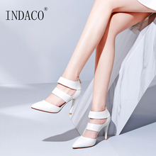White Sandals Women Leather Summer Shoes High Heels 9CM